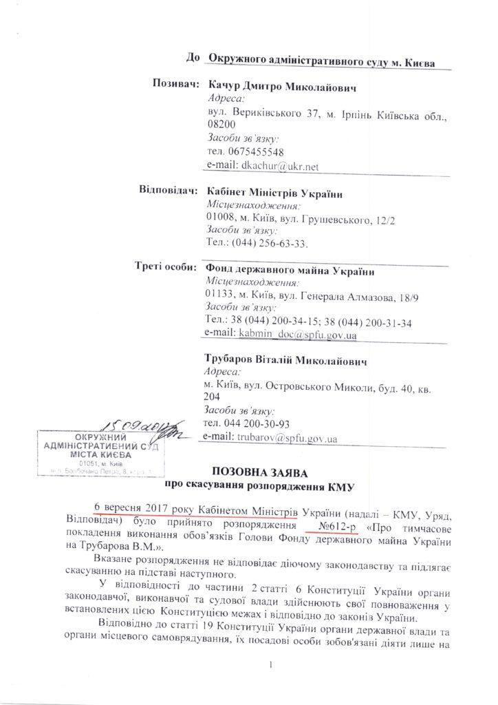 Копія позовна заява обов'язки Голови ФДМУ покладено на керівника апарату ФДМУ